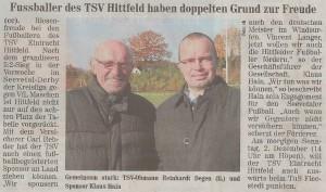 Fußballer des TSV Hittfeld haben doppelten Grund zur Freude